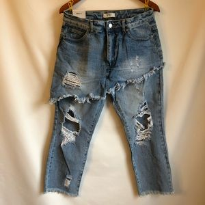 Unique F21 Skirt Over Pants Cropped Distressed NWT